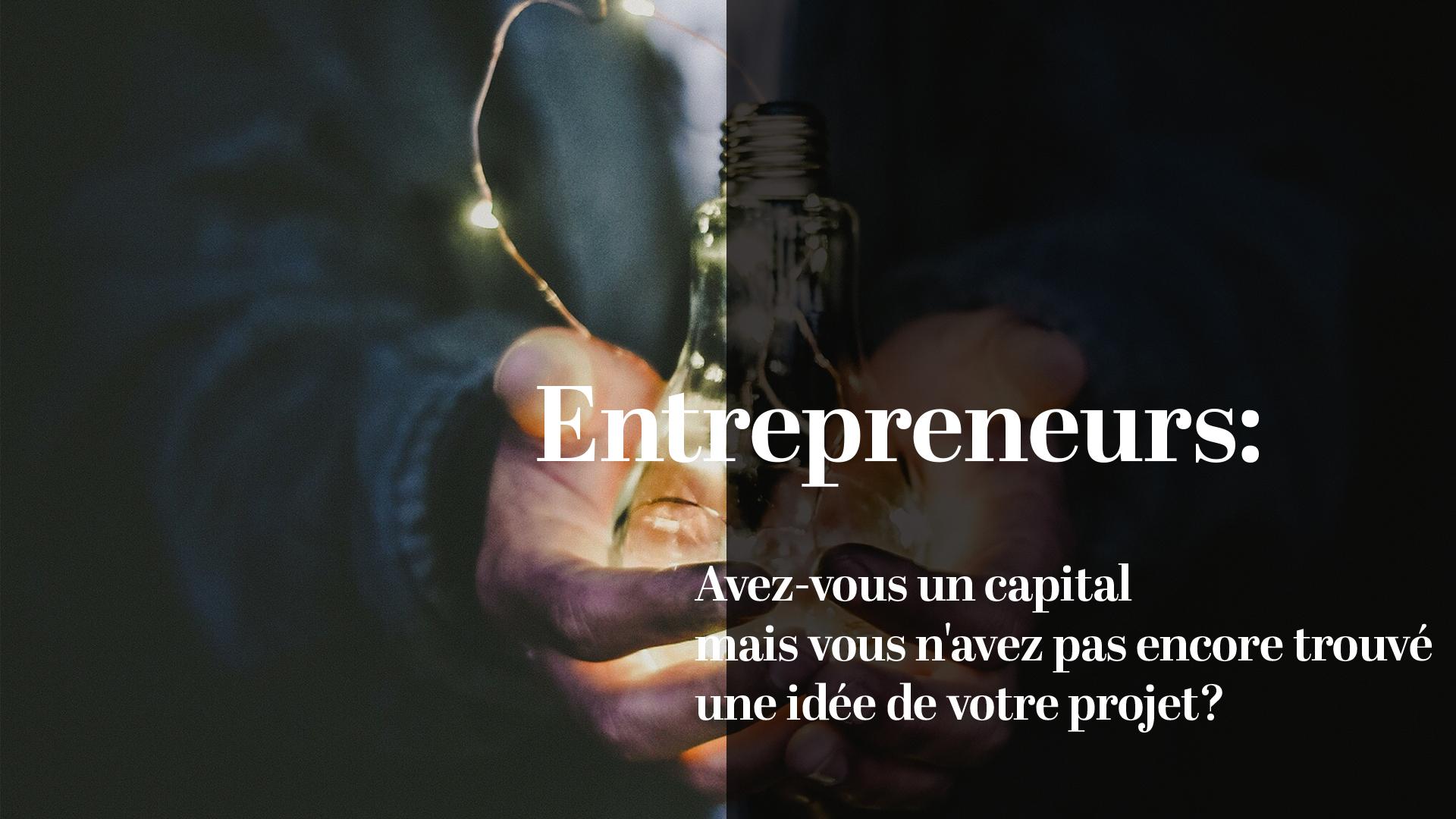 Vous avez un capital , mais vous n'avez pas encore trouvé une idée pour votre projet ?
